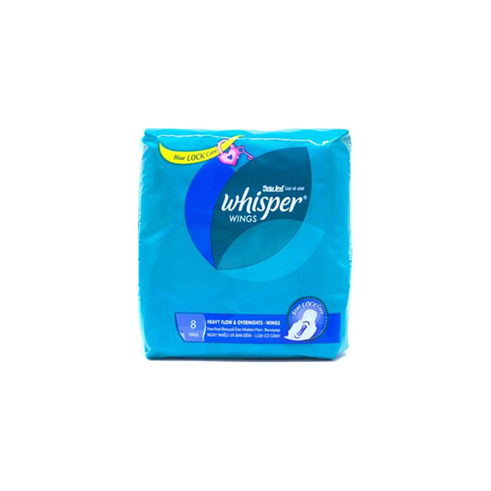Heavy Flow & Overnights Wings 8 Pads | Whisper, 1 Pack