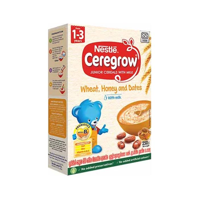 Junior Cereals with Milk for 1-3 year olds with Wheat, Honey & Dates | Nestle Caregrow 250 g
