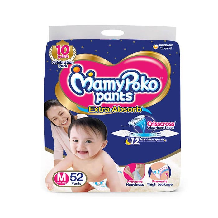 Mamy Poko Pants Extra Absorb M 7-12kg (52 Pants)