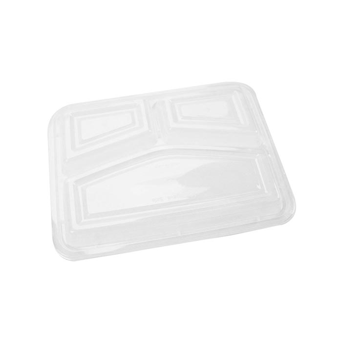 Hotpack Black Base Rectangular 3-Compartment Container Lids