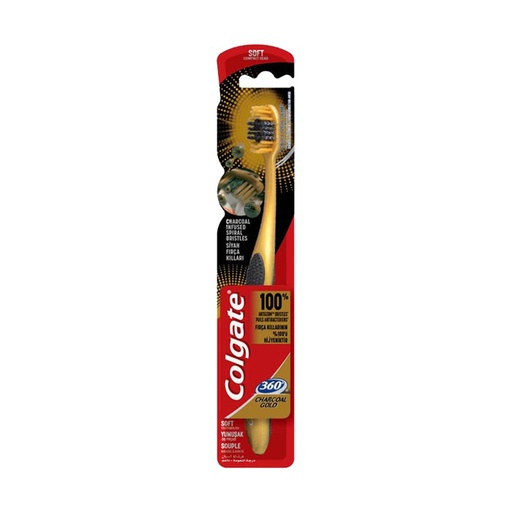 [I000717] Toothbrush 360 Charcoal Gold | Colgate (Soft)