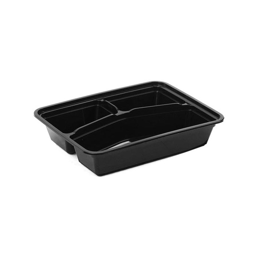 [I001220] Hotpack Black Base Rectangular 3-Compartment Container Base