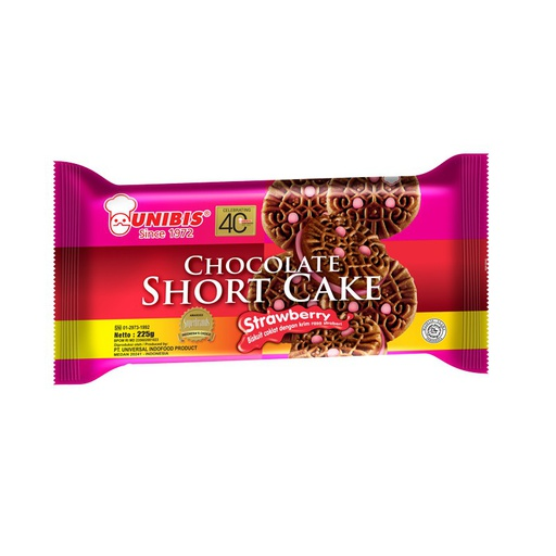 [I001653] Chocolate Short Cake Strawberry Biscuits  225 g